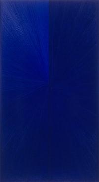 "Mark Grotjahn, ""Untitled (Blue Painting Light to Dark VI)"" (2006). Oil on linen. 86"" x 47"". Courtesy Anton Kern Gallery, NY."