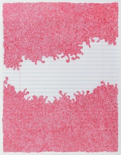 "Lori Ellison, ""Untitled,"" 2013. Ink on notebook paper, 11 × 8 ½˝. Courtesy the artist and McKenzie Fine Art."
