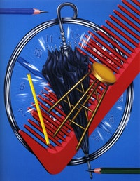 "Naoto Nakagawa, ""Anatomy of a Timepiece"" (1971). Acrylic on canvas. 90"" x 72""."