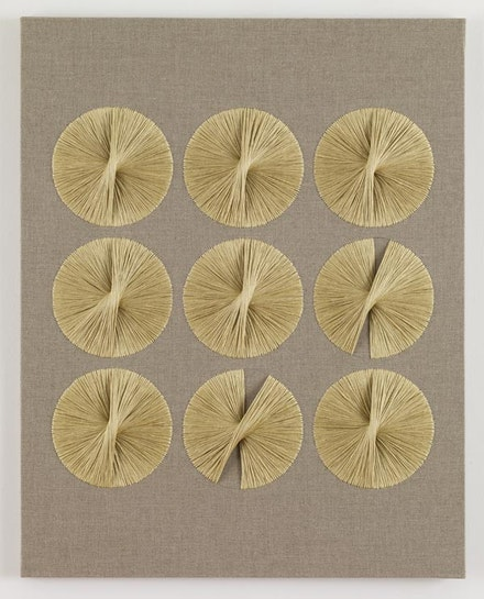 "Sheila Hicks, ""Maquette for Ford Foundation commissions,"" 1966-7. Linen, silk, anodized aluminum, 36.25 x 28.75 x 0.875 inches. Artwork © Sheila Hicks; Image courtesy of Sikkema Jenkins & Co., New York."