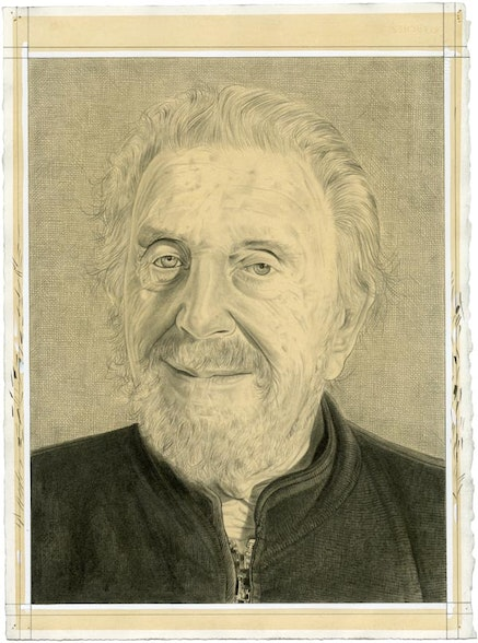 Portrait of Mitch Leigh. Pencil on paper by Phong Bui.