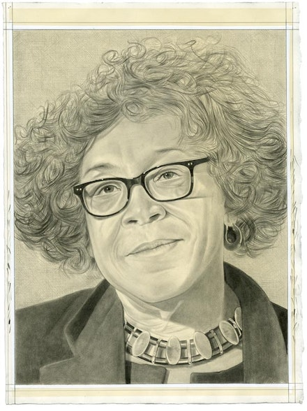 Portrait of Lowery Stokes Sims. Pencil on paper by Phong Bui.
