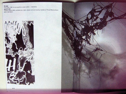 """Photograph (with light leak) of pages 14 & 15, <em>Sheila Pepe: Josephine</em>, Thread Waxing Space; essay by Lia Gangitano, 2000. (page caption: this page: <em>from Schad</em>, 1999, ink and graphite on paper; photo: L. Deschenes / opposite page: Josephine (detail), 2000, crocheted yarn, lights, shadow and wall drawing, installed at Thread Waxing Space; photo: John Berens),"" 2014. Courtesy the artist."