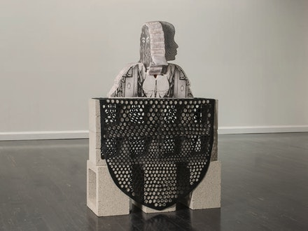 "Bari Ziperstein, ""Bust,"" 2013. Terracotta, custom decals, concrete, leather, 36 x 24 x 36 ̋. Courtesy of the artist."