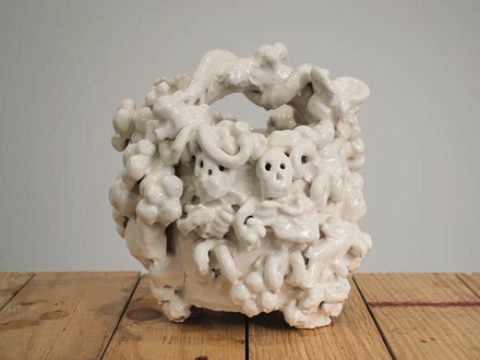 "Jeffry Mitchell, ""Basket With Two Skeletons,"" 2013. Glazed earthenware, 10 1/2 x 10 x 9 1/2 ̋. Courtesy of the artist."