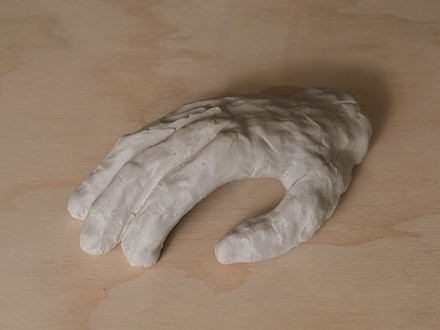 "Matt Merkel Hess, ""Right Hand Sculpted By My Left Hand,"" 2013. Unglazed porcelain, 4 1/4 x 8 x 2 1/2 ̋. Courtesy of the artist."