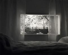 "Mayumi Terada, ""view of bridge and bed"" (2006). Gelatin silver print. 55"" x 40 ½"". © Mayumi Terada. Courtesy Robert Miller Gallery, New York."