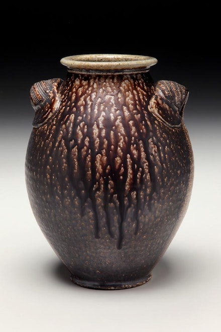 Ovoid vase with combed handles and manganese slip by Alex Matisse.