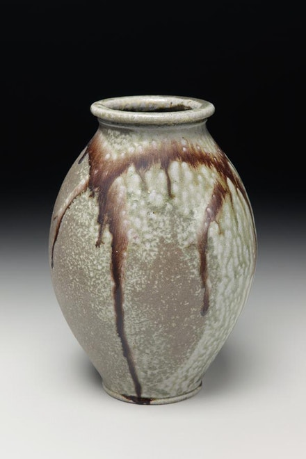 Ovoid vase with green ash glaze and manganese slip by Alex Matisse.