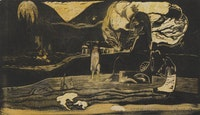 """Paul Gauguin, """"Maruru"""" (""""Offerings of Gratitude"""") from the suite Noa Noa (""""Fragrant Scent""""). 1893 – 94. Woodcut, comp. 8 1/16 × 14 ̋. Sterling and Francine Clark Art Institute, Williamstown, Mass. Photo by Michael Agee © Sterling and Francine Clark Art Institute, Williamstown, Massachusetts."""