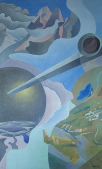 "Benedetta (Cappa Marinetti) ""Synthesis of Aerial Communications (Sintesi delle comunicazioni aeree),"" 1933 – 34. Tempera and encaustic on canvas, 324.5 x 199 cm. Il Palazzo delle Poste di Palermo, Sicily, Poste Italiane. By permission of Vittoria Marinetti and Luce Marinetti's heirs. Photo: AGR/Riccardi/Paoloni."