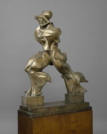 "Umberto Boccioni, ""Unique Forms of Continuity in Space (Forme uniche della continuità nello spazio),"" 1913 (cast 1949). Bronze, 121.3 x 88.9 x 40 cm. The Metropolitan Museum of Art, New York, Bequest of Lydia Winston Malbin, 1989 © The Metropolitan Museum of Art Image Source: Art Resource, New York."