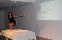 "Norio Imai, ""On the Table."" Performance held on February 13, 2014, Galerie Richard. Courtesy of Galerie Richard."
