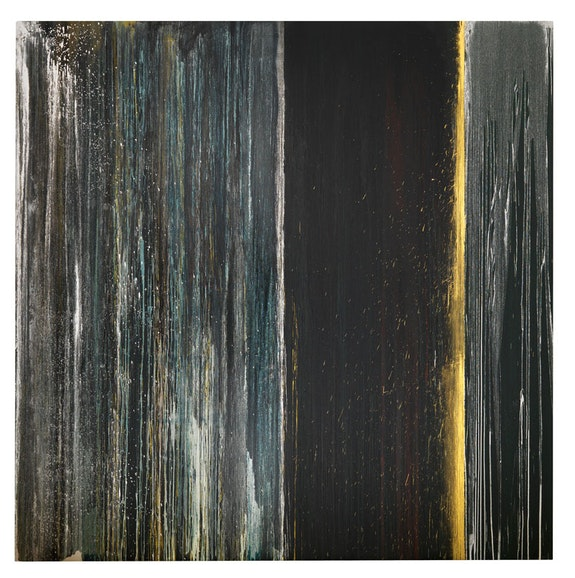 "Pat Steir, ""BLACK, BLUE, SILVER AND GOLD,"" 2013. Oil on canvas, 132 × 132 ̋. Photo courtesy Cheim & Read, New York."
