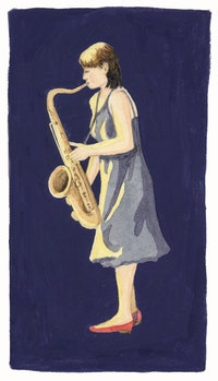 Ingrid Laubrock. Illustration by Megan Piontkowski.