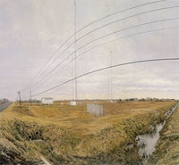 "Rackstraw Downes, ""At the Confluence of Two Ditches Bordering a Field with Four Radio Towers,"" 1995. Oil on canvas, 46 × 48 ̋. Collection of Louis-Dreyfus Family. Courtesy of the artist and Betty Cuningham Gallery, New York."