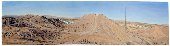 "Rackstraw Downes, ""Presidio: In the Sand Hills Looking West with ATV Tracks & Cell Tower,"" 2012. Oil on canvas, 161/2 × 64 ̋. Courtesy of the artist and Betty Cuningham Gallery, New York."