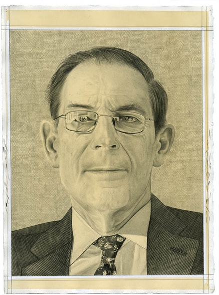 Portrait of Philippe de Montebello. Pencil on paper by Phong Bui.