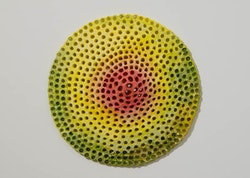 "Joyce Robins, ""Red Yellow Cone"" (2012). 10"" dia × 1 ̋ depth. Courtesy of the artist."