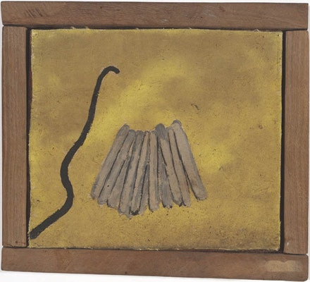 "Forrest Bess, ""Sticks"" (1950). Oil on canvas. 6 3/4 × 7 3/4"". Courtesy the Menil Collection, Houston. Photo by Paul Hester."