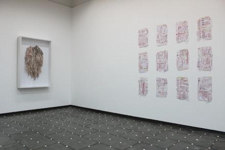 "Sara Ramo, left: ""Contrato,"" 2014; right: ""Caledario,"" 2012. Courtesy Galeria Estrany de la Mota."