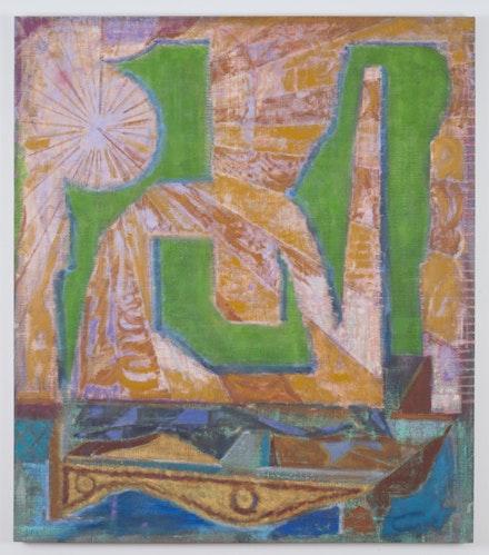"Michael Berryhill, ""Deztop,"" 2014. Oil on linen, 58 × 50 ̋. Courtesy of artist and Kansas Gallery."