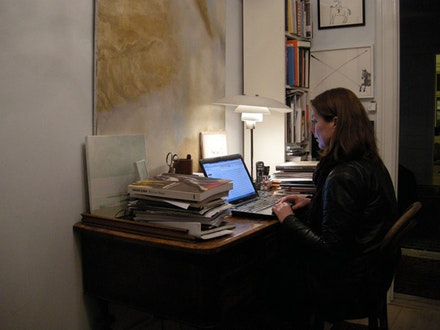 The art critic Lisbeth Bonde working in her studio in copenhagen.