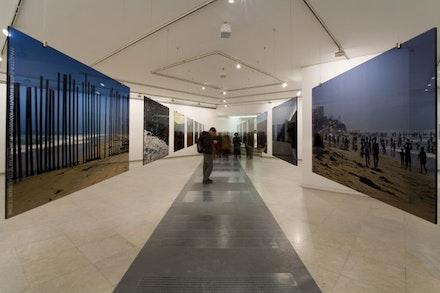 "Danae Stratou, ""CUT - 7 dividing lines,"" 2007. Multimedia installation. Exhibition: Grey, Curator, Maria Marangou. Zoumboulakis Galleries, Athens, Greece. Photo: Danae Stratou."