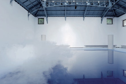 "Danae Stratou ""Icesongs,"" 2010. Site-specific multimedia installation, La Verrière. Fondation d'enterprise Hermès. Curator: Alice Morgaine. Brussels, Belgium. Photo: Fabien de Cugnac."