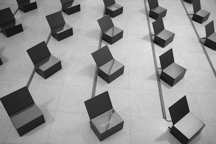 """Danae Stratou """"It's Time To Open The Black Boxes!"""" 2012. Detail of installation. Zoumboulakis Galleries, Athens, Greece. Photo: Marili Zarkou."""