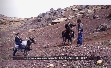 "Şener Özmen, Erkan Özgen, ""Road to Tate Modern,"" 2003. Video, 6'47'', Exhibition of Sorry to Kill You!, Proje4L, 2003 and Exhibition of Uncanny, Aksanat, 2005."