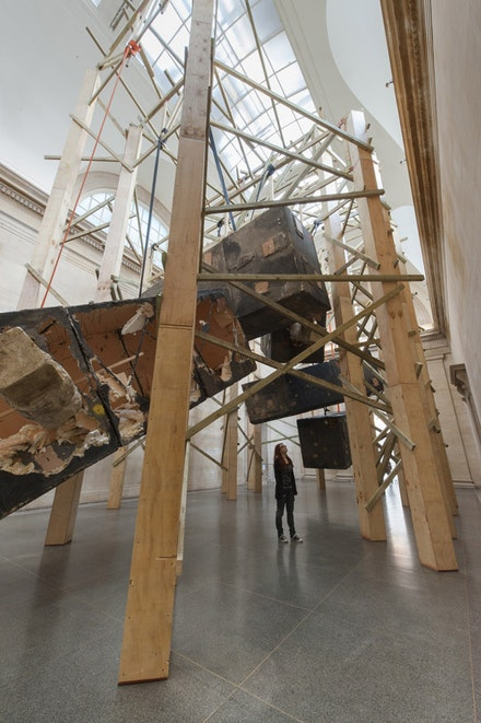 "Phyllida Barlow, ""Dock,"" (2014). Installation at the Tate Britain. Photo: J. Fernandes, Courtesy of the Tate."