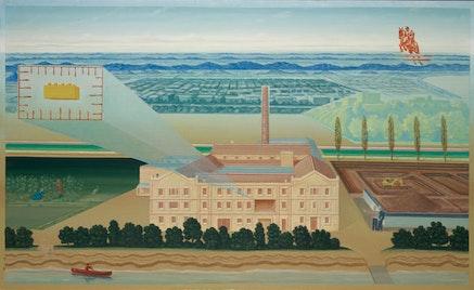 """Philippe Fretz, """"Kugler 360°, South Facade,"""" 2010. Oil on linen, 110 × 180 cm."""