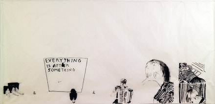 "Yane Calovski, ""Everything is after something,"" 2004. Drawing 1 and 3 of collection of 4 drawings. Ink, gush, and graphite on paper, 100 × 200 cm. Courtesy the artist and Zak Branicka Gallery."