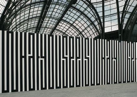 "Tania Mouraud, ""WYSIWYG,"" 1989. Wall painting, 350 × 1000 cm. Exhibition view of La Force de l'Art, Grand Palais, Paris, 2006. Collection Musée National d'Art Moderne, Centre Georges Pompidou, Paris. Photograph: Thierry Depagne. Copyright Tania Mouraud, ADAGP 2012."
