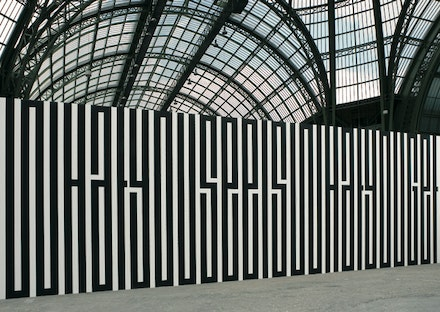 "Tania Mouraud, ""WYSIWYG,"" 1989. Wall painting, 350 × 1000 cm. Exhibition view of La Force de l'Art, Grand Palais, Paris, 2006. Collection Musée National d'Art Moderne, Centre Georges Pompidou, Paris. Photograph: Thierry Depagne. Copyright Tania Mouraud, ADAGP 2012."
