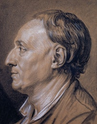 Jean-Baptiste Greuze (1725-1805), Portrait of Denis Diderot (1713-1784), 1766. Black chalk, stumped, and white chalk, worked wet, with touches of gray chalk, on brown paper. Source: The Morgan Library & Museum.