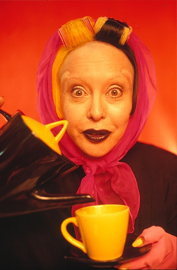 "ORLAN, ""The Laughing Woman series, Will You Have a Little… Content, Mr. Greenberg ?,"" Cibachrome, 1998, 60 × 90 cm; Courtesy ORLAN studio."