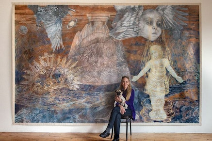 "Ann McCoy and Maeve, ""Lunar birth"" (2001), 9 by 14 ft, pencil and water color on paper on canvas Photograph by Peter Dressel."