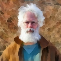 Photo of Khem Caigan with digital painting by the artist