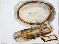 """Mira Schor, """"My Dreams Are Emptied Out,"""" 2011 Ink, rabbit skin glue, and gesso on white linen, 12 × 16 ̋"""