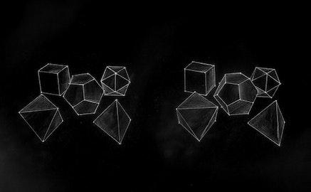 "Brian Cotnoir, ""Platonic solids study #7,"" 2008 3D white pencil drawing."