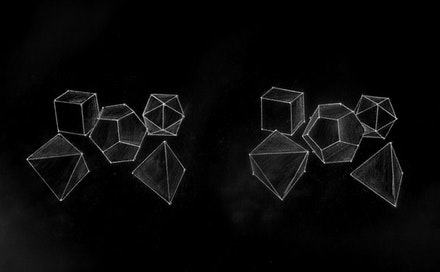 "Brian Cotnoir, ""Platonic solids study #7,"" 2008 3D white pencil drawing."
