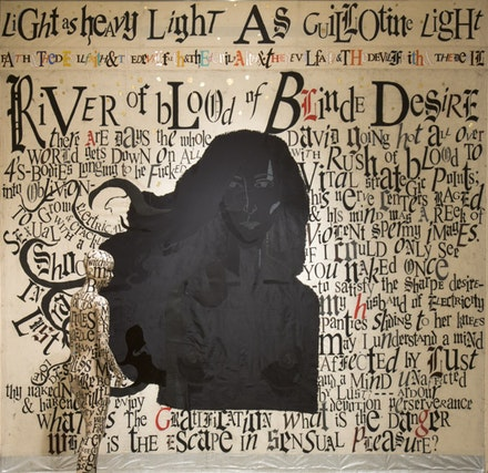 <em>River of Blood of Blinde Desire</em> (<em>Lucifer</em> also pictured). Drawing, 2012. Cotton fabric, silk, oil pastel, acrylic paint, thread, silver leaf, and gold leaf. 120