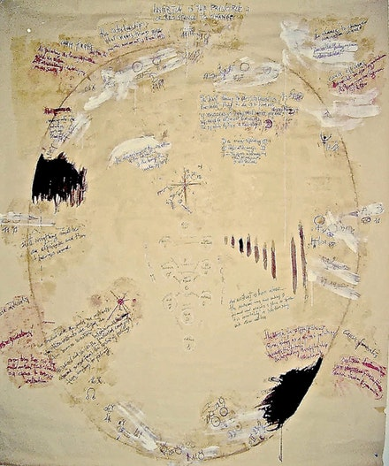 "Anita Sieff. ""Cosmic Egg: Inertia is the principle of resistance to change,"" 2001. Pencil, charcoal, and tempera on paper, 164 x 198 cm."