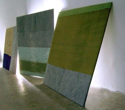 Installation view: Sam Moyer, <em>Night Moves</em>, August – September 2008, Cleopatra's, Brooklyn, NY.