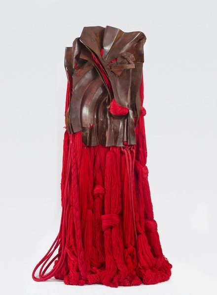 "Barbara Chase-Riboud, ""All That Rises Must Converge / Red,"" 2008. Red bronze, silk, and synthetic silk 74 1/2 x 42 x 28"". Courtesy of Noel Art Liaison, Inc."
