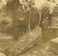 In 1898, the grave of New York's first governor, George Clinton, was opened in Washington, DC, the coffin removed, his bones examined and then reassembled in a new coffin, which was buried with great fanfare under a monument in the Old Dutch Reform Graveyard in Kingston, NY. Photo courtesy of Senate House State Historic Site (NY State Office of Parks, Recreation and Historical Preservation).