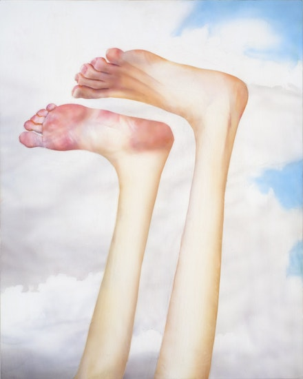 "Robert Feintuch, ""Feet Up,"" 2013. 23.75 × 19 inches. Polymer emulsion on honeycomb panel. Courtesy of Sonnabend Gallery and the artist."