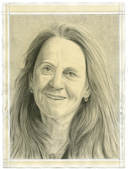 Portrait of Ann McCoy. Pencil on paper by Phong Bui.